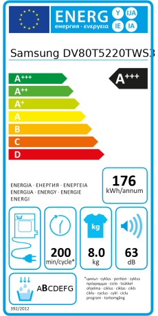 Dv80t5220aw energie